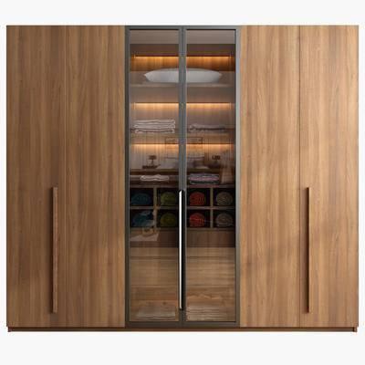 现代衣柜, 实木, 玻璃, 毛巾