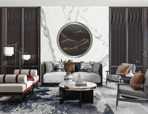 沙发, 单人椅, 矮凳, 茶几, 桌花, 墙饰, 落地灯