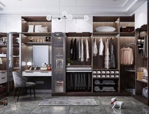衣帽间, 衣柜服饰, 桌椅组合, 吊灯, 衣架, 摆件组合, 梳妆台, 现代