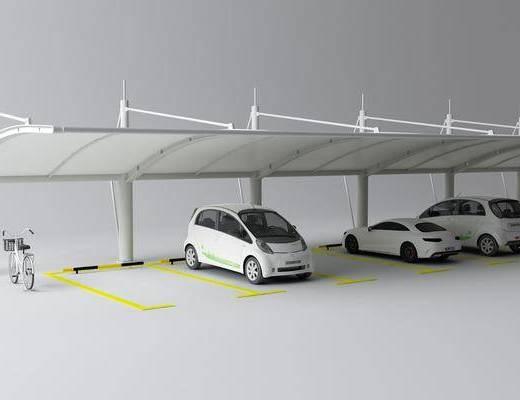 户外停车棚, 户外停车场, 小轿车, 单车, 交通工具