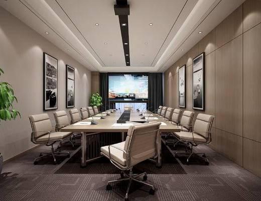 现代, 会议室, 会议桌, 办公桌, 绿植