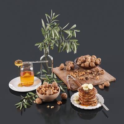 食品, 蜂蜜, 核桃, 花瓶, 现代