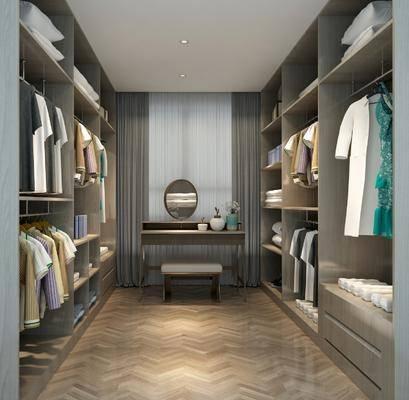 衣帽间, 装饰柜, 衣柜, 服饰, 桌子, 椅子, 现代