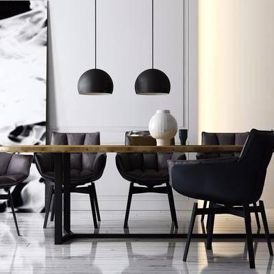 摆件, 吊灯, 现代, 餐桌, 餐椅