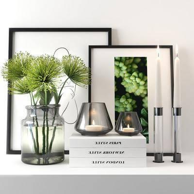 花卉花瓶, 書籍蠟燭臺, 裝飾畫, 掛畫組合, 擺件組合, 現代