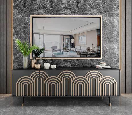 电视柜, 摆件组合, 电视, 盆栽植物