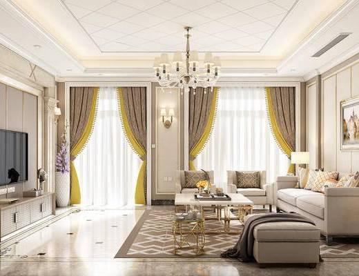 欧式沙发, 沙发组合, 沙发茶几组合, 吊灯, 窗帘, 简欧