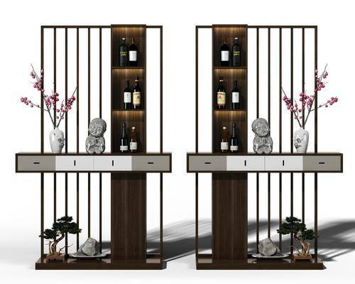 屏风, 隔断, 酒架, 装饰柜架