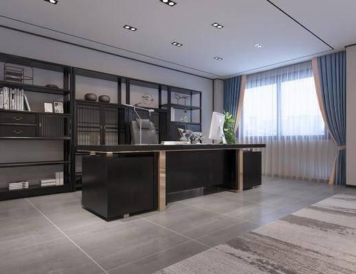 办公室, 新中式办公室, 办公桌, 置物柜