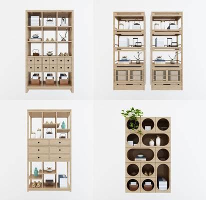新中式书柜, 展示柜, 装饰柜, 装饰架, 摆设品