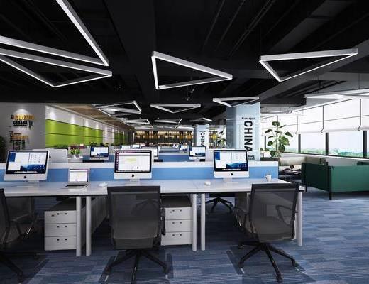 办公区, 现代办公区, 桌椅组合, 办公桌