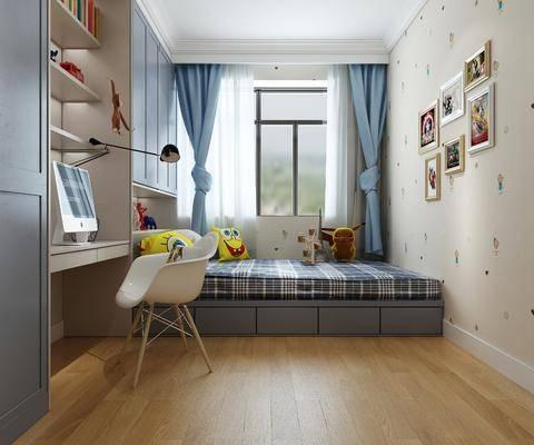 儿童房, 现代儿童房, 书桌椅组合, 床具组合, 榻榻米