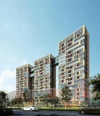 建筑, 住宅, 高层, 现代建筑, 现代, 树, 车