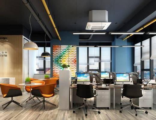 办公室, 办公桌, 办公椅, 电脑桌, 单人椅, 前台接待, 休闲桌椅, 休闲桌子, 休闲椅, 吊灯, 桌椅组合, 盆栽, 绿植植物, 现代