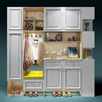 玄关柜, 玄关鞋柜, 衣服, 鞋, 摆件, 装饰品, 陈设品, 鞋柜, 边柜, 装饰柜