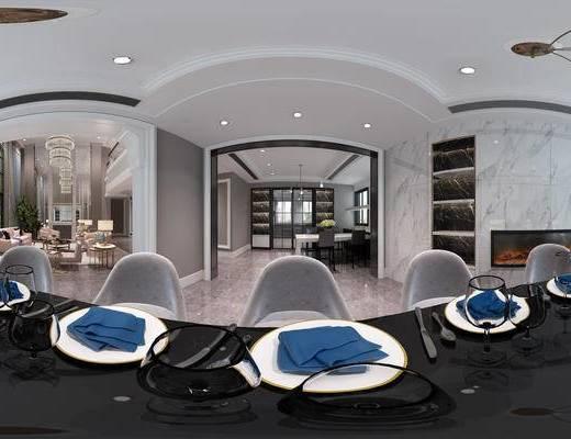 餐厅, 现代餐厅, 餐桌椅, 餐具, 客厅, 沙发组合