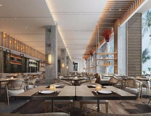 现代餐厅, 餐厅, 餐桌椅, 桌椅组合, 酒店餐厅