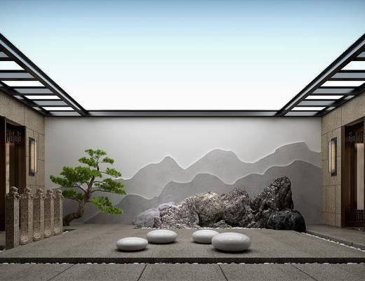 景观小品, 假山, 庭院