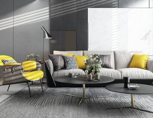 客厅, 沙发, 现代客厅, 茶几, 椅子, 落地灯, 装饰品