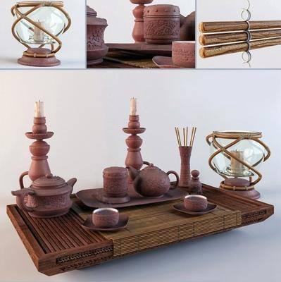 茶具, 茶杯, 茶壶, 蜡烛台, 现代