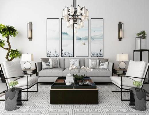 新中式, 多人沙发, 单人沙发, 茶几, 吊灯, 盘栽, 边几, 壁灯, 挂画