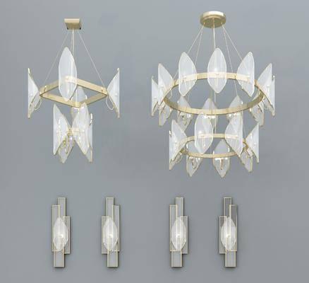 金属吊灯, 壁灯组合, 玻璃吊灯, 现代轻奢