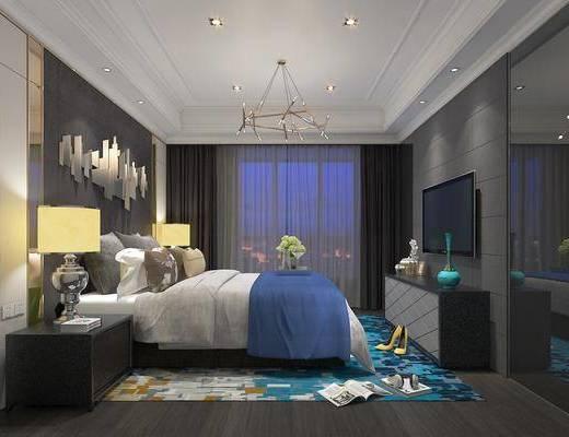卧室, 床具组合, 现代卧室, 床头柜, 台灯, 电视柜, 摆件, 现代