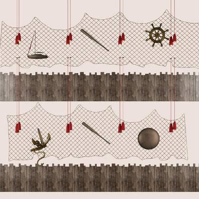 陈设品, 摆件, 墙饰, 挂饰, 中式, 鱼网
