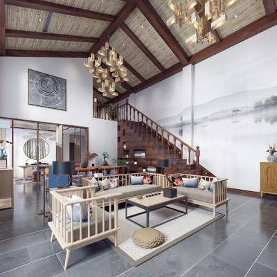 客厅, 多人沙发, 茶几, 单人沙发, 双人呢, 沙发, 桌子, 单人椅, 吊灯, 装饰柜, 摆件, 装饰品, 陈设品, 边几, 台灯, 东南亚