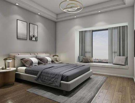 现代吊灯, 现代卧室组合, 现代双人床组合, 挂画, 电视, 地毯