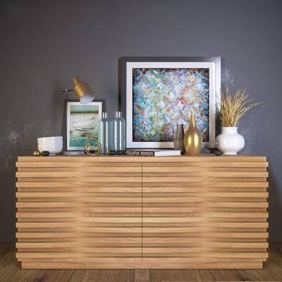 端景柜, 装饰画, 台灯, 花瓶, 现代
