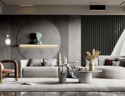 沙发组合, 吊灯, 墙饰, 茶几, 花瓶, 单椅