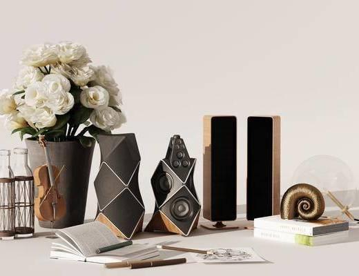 现代摆件, 花瓶, 现代音响, 摆件组合