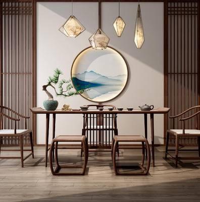 茶桌, 茶具组合, 墙饰, 吊灯
