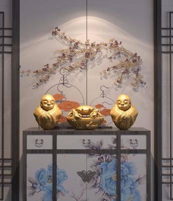 边柜, 摆件, 装饰品, 陈设品, 墙饰, 中式