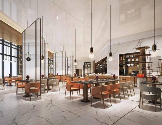 现代, 餐厅, 工装