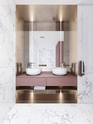 洗手台, 洗手盆, 北欧洗手台, 镜子, 水龙头, 北欧, 轻奢