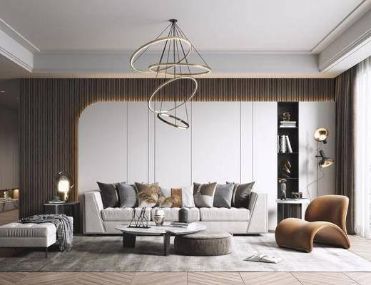吊灯, 沙发组合, 茶几, 单椅, 边几, 台灯