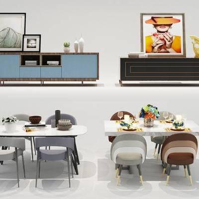 北欧餐桌, 北欧电视柜, 餐桌, 电视柜, 餐桌椅, 餐具, 装饰画, 挂画, 现代, 北欧