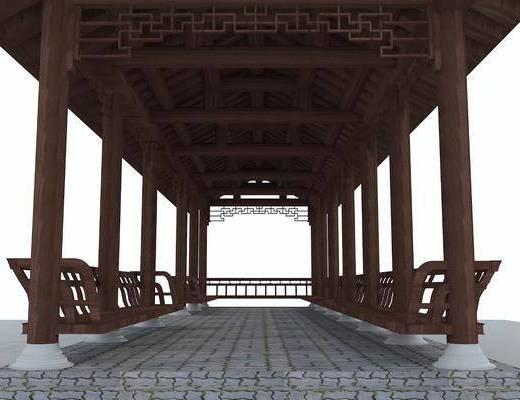 长廊, 凉亭, 中式