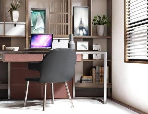 现代, 书桌椅, 桌子, 椅子, 单椅, 休闲椅, 装饰架, 盆栽