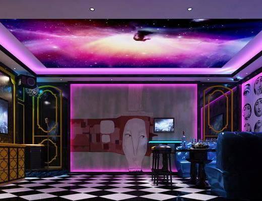 摩登KTV, 酒吧, 娱乐包房, 多人沙发, 茶几, 凳子, 单人椅, 现代