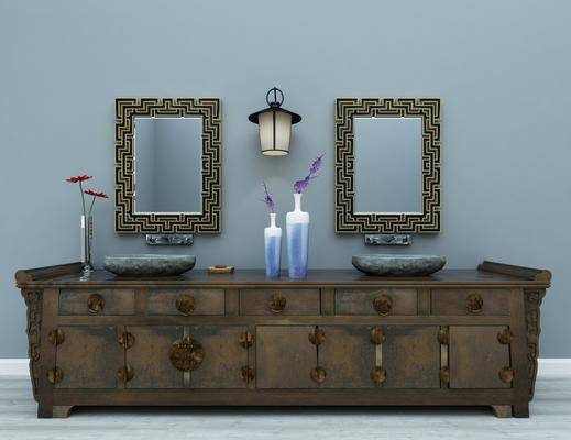 洗手台, 装饰镜, 壁灯, 东南亚