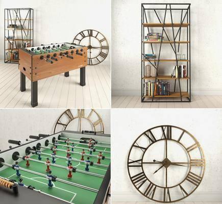 书柜, 桌面足球, 游戏, 书架, 组合, 工业风, 现代
