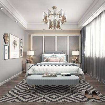 简欧卧室, 双人床, 床尾凳, 现代卧室