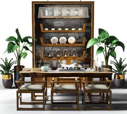 茶桌, 实木茶桌, 茶具, 盆景, 植物, 茶柜, 装饰柜, 吊灯, 椅子, 中式, 新中式