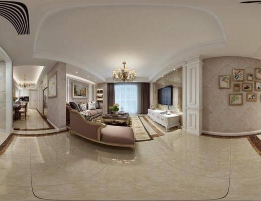 简欧客厅, 客厅, 沙发组合, 简欧全景