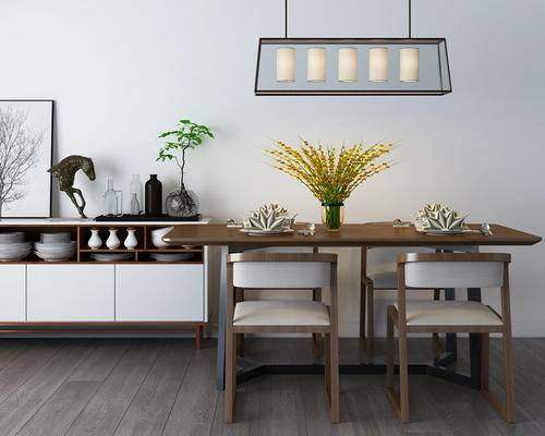 桌椅组合, 餐桌椅, 椅子, 餐具, 边柜, 吊灯, 现代