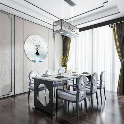 餐厅, 桌椅组合, 新中式桌椅组合, 摆件组合, 餐具