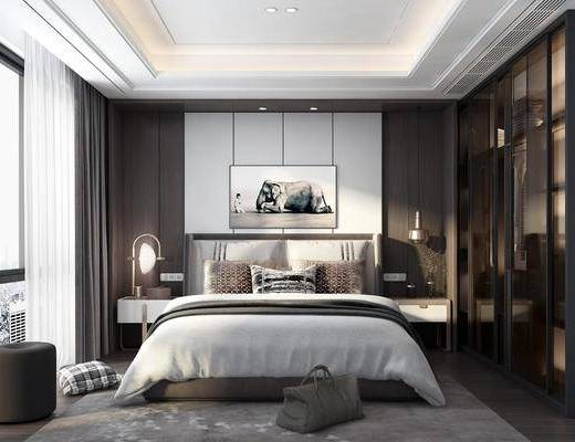 卧室, 床具组合, 衣柜服饰, 台灯, 挂画, 摆件组合, 现代
